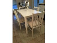 WHITE HAND PAINTED WOODEN TABLE AND CHAIRS