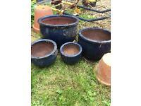 Blue ceramic plant pot set