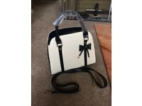 Black and cream handbag