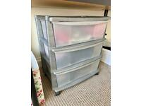 Chest of drawers grey/transparent storage unit - Great Condition!