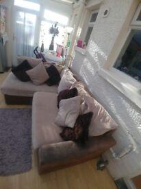 Brown and cream right corner sofa