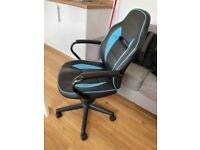 Argos Home Faux Leather Mid Back Office Gaming Chair - Blue & Black