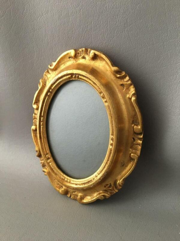 ANTIQUE VTG ITALIAN FLORENTINE GOLD TOLE WOOD MINIATURE PICTURE FRAME w GLASS