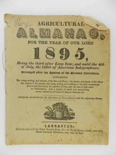 1895 Agricultural Almanac Printed & Sold by John Baer
