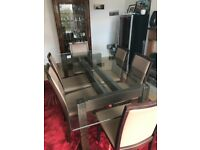 Glass & Wooden Dining Table + 6 Leather Chairs (RRP: £1000)