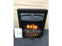 Flame effect electric fire with synthetic coals.