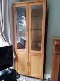Solid oak display cabinet and set of drawers