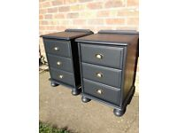 matching pair of pine shabby chic upycled bedside cabinets