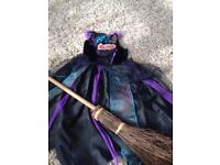 asda witches halloween dress with broom 7-8