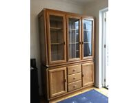 Large Wooden & Glass Sideboard Display Cupboard Unit 2 Pieces Drawers Glass Shelves