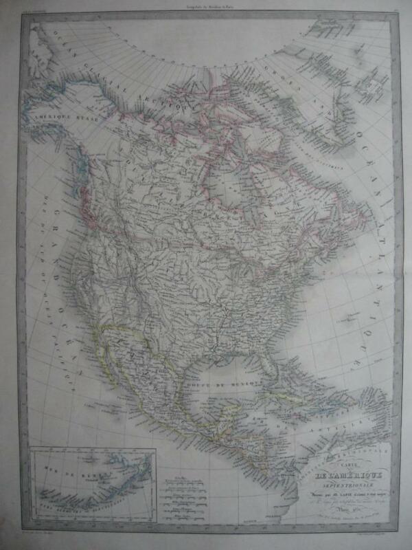 1851 - LAPIE - Large map NORTH AMERICA  Pre GADSDEN Purchase USA