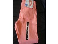 BNWT Esmara ladies trousers, size 42, light peach colour, slim fit, stretch.