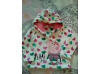 GIRLS FLEECE PEPPA PIG HOODIE AGE 3-4