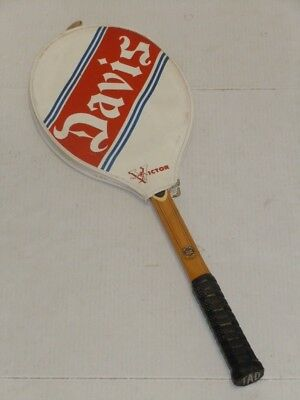 VINTAGE DAVIS PROFESSIONAL TAD WOODEN TENNIS RACKET RACQUET WITH COVER VERY NICE