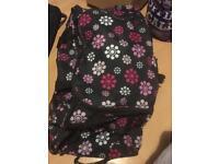 Flower wheeled big hold-all bag