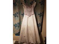 Pronuptia ivory and burgandy wedding dress