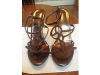 BRAND NEW - Womens Brown Fashion Party Stilleto Sandals - Size 7 (UK)