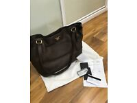 Prada brown leather handbag proof of purchase dust bag