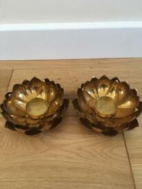 Pair of beautiful Marks and Spencers brass tea light holders. Lovely flower design.