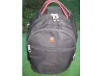 Wenger Black Fabric Rucksack with Red Edging