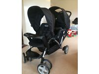 Black Graco double tandem pushchair
