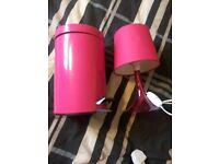 Hot pink lamp and bin for bedroom