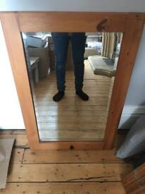 Large wooden frame bevel mirror