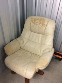 Cream faux leather chair - For Free - Collection only