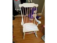Hand painted white and pink rocking chair