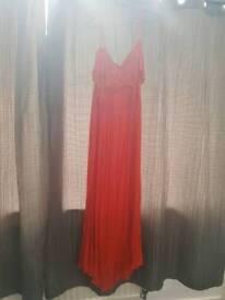 Orange cold shoulder dress
