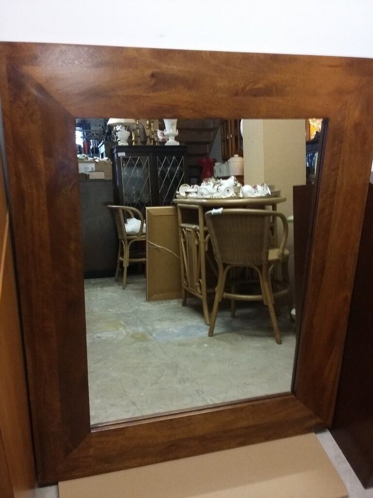 Quality Large Overmantle Wide Mango Wood Mirror From Next