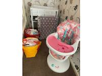 BABY CLOTHES HIGH CHAIR STAIR GATE BATH AND CHANGING UNIT