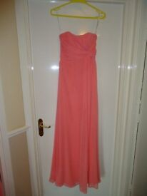 coral strapless bridesmaid dress size 8
