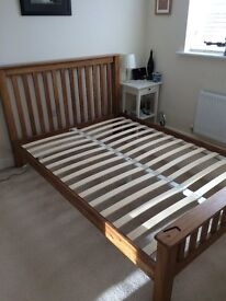 Solid oak double bed frame and mattress