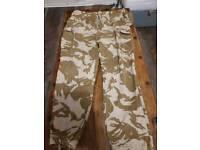 Two desert military army bottoms leg 80 waist 100 seat 116 07713282474