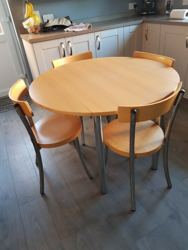 Round Drop Leaf Table With 4 Chairs Light Oak Colour Stainless Steel Legs Vg Condition