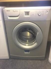 Silver Beko 7 kg,1400 spin washing machine. Model WME7247S