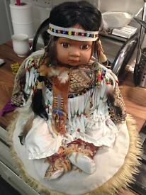 Tribal Indian China doll with full dress