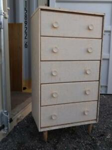 "Oakville 24""w 16""d 48""h ANTIQUE DRESSER Tall Chest of Drawers Solid Wood Light pinkish salmon Sturdy Retro Vintage"