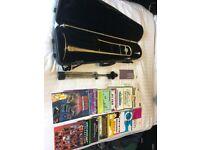 Yamaha Trombone Brass Instrument, Stand and Music Books