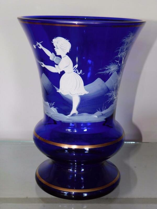 """ANTIQUE VICTORIAN MARY GREGORY COBALT ENAMELED VASE 8 """" TALL"""