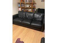 Furniture village leather 3 seater sofa