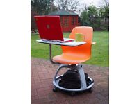 Mobile chairs with integral work surface
