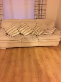 3 seater leather sofa with 2 arm chairs