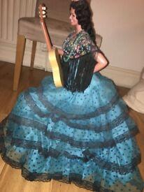 Large Used Vintage Flamenco Spanish Doll decorative dancing guitar