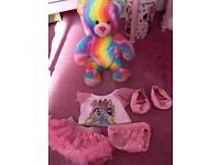 Build a bear rainbow bear with princess outfit knickers and shoes