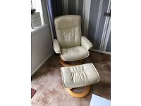 2 Stressless Recliner Chairs with Stools