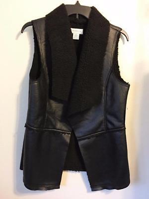 liz claiborne black shearling vest faux leather