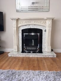 Electric fire / fireplace with marble surround