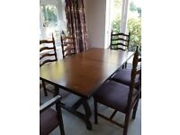 Dining Table and Chairs in Chestnut Wood